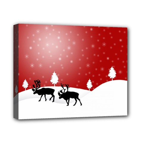 Reindeer In Snow Canvas 10  X 8