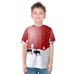 Reindeer In Snow Kids  Cotton Tee