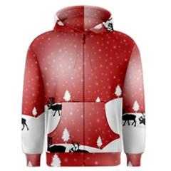 Reindeer In Snow Men s Zipper Hoodie