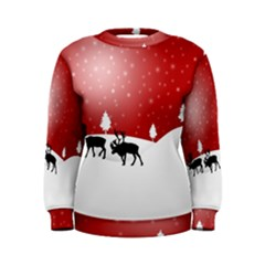 Reindeer In Snow Women s Sweatshirt