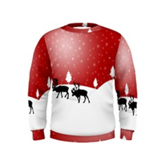Reindeer In Snow Kids  Sweatshirt