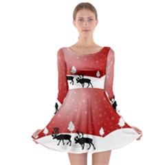 Reindeer In Snow Long Sleeve Skater Dress