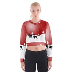 Reindeer In Snow Women s Cropped Sweatshirt