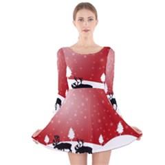 Reindeer In Snow Long Sleeve Velvet Skater Dress