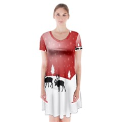 Reindeer In Snow Short Sleeve V-neck Flare Dress
