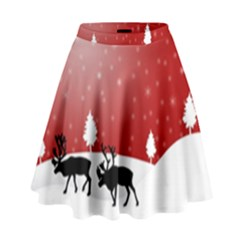 Reindeer In Snow High Waist Skirt