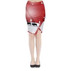 Reindeer In Snow Midi Wrap Pencil Skirt