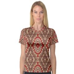 Seamless Carpet Pattern Women s V Neck Sport Mesh Tee