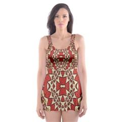 Seamless Carpet Pattern Skater Dress Swimsuit