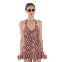 Seamless Carpet Pattern Halter Swimsuit Dress
