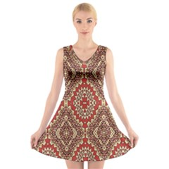 Seamless Carpet Pattern V Neck Sleeveless Skater Dress