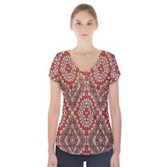 Seamless Carpet Pattern Short Sleeve Front Detail Top