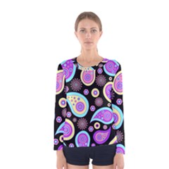 Paisley Pattern Background Colorful Women s Long Sleeve Tee