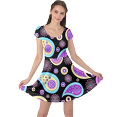 Paisley Pattern Background Colorful Cap Sleeve Dresses