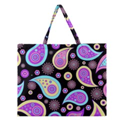 Paisley Pattern Background Colorful Zipper Large Tote Bag