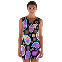 Paisley Pattern Background Colorful Wrap Front Bodycon Dress