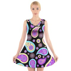 Paisley Pattern Background Colorful V Neck Sleeveless Skater Dress