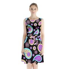 Paisley Pattern Background Colorful Sleeveless Chiffon Waist Tie Dress