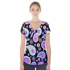 Paisley Pattern Background Colorful Short Sleeve Front Detail Top