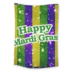Happy Mardi Gras Poster Large Tapestry