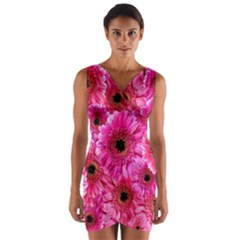 Gerbera Flower Nature Pink Blosso Wrap Front Bodycon Dress
