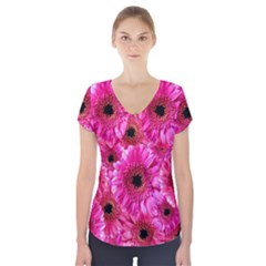 Gerbera Flower Nature Pink Blosso Short Sleeve Front Detail Top