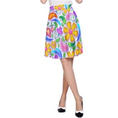 Floral Paisley Background Flower A-Line Skirt