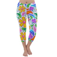 Floral Paisley Background Flower Capri Winter Leggings