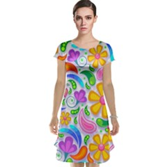 Floral Paisley Background Flower Cap Sleeve Nightdress