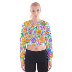 Floral Paisley Background Flower Women s Cropped Sweatshirt