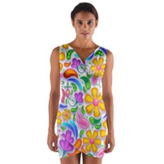 Floral Paisley Background Flower Wrap Front Bodycon Dress