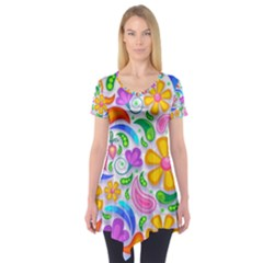 Floral Paisley Background Flower Short Sleeve Tunic