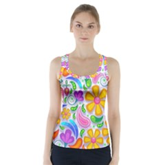 Floral Paisley Background Flower Racer Back Sports Top
