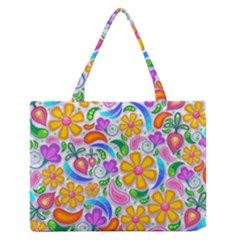 Floral Paisley Background Flower Medium Zipper Tote Bag