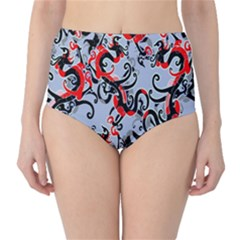 Dragon Pattern High-Waist Bikini Bottoms