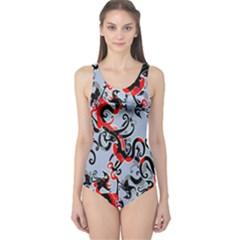 Dragon Pattern One Piece Swimsuit