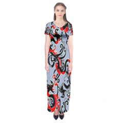 Dragon Pattern Short Sleeve Maxi Dress