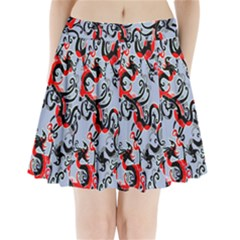 Dragon Pattern Pleated Mini Skirt