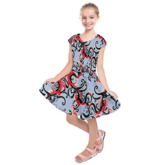 Dragon Pattern Kids  Short Sleeve Dress