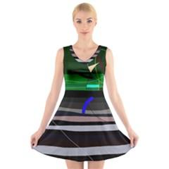 Abstraction V Neck Sleeveless Skater Dress
