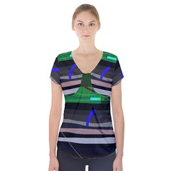 Abstraction Short Sleeve Front Detail Top