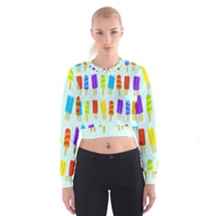 Food Pattern Women s Cropped Sweatshirt