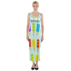 Food Pattern Fitted Maxi Dress