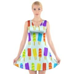 Food Pattern V Neck Sleeveless Skater Dress