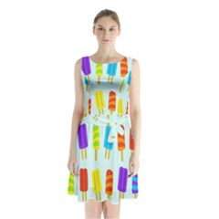 Food Pattern Sleeveless Chiffon Waist Tie Dress