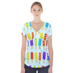 Food Pattern Short Sleeve Front Detail Top