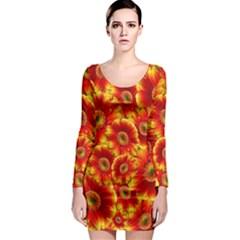Gerbera Flowers Blossom Bloom Long Sleeve Bodycon Dress
