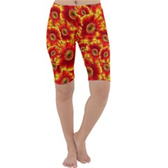 Gerbera Flowers Blossom Bloom Cropped Leggings