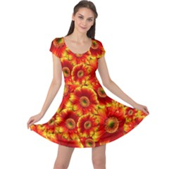 Gerbera Flowers Blossom Bloom Cap Sleeve Dresses