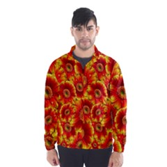 Gerbera Flowers Blossom Bloom Wind Breaker (Men)